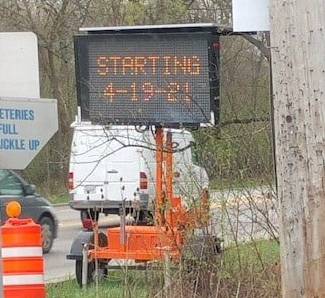 construction sign that reads starting April 19th 2021